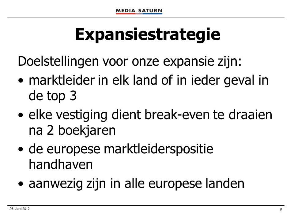 9 26. Juni 2012 Expansiestrategie Doelstellingen voor onze expansie zijn: •marktleider in elk land of in ieder geval in de top 3 •elke vestiging dient