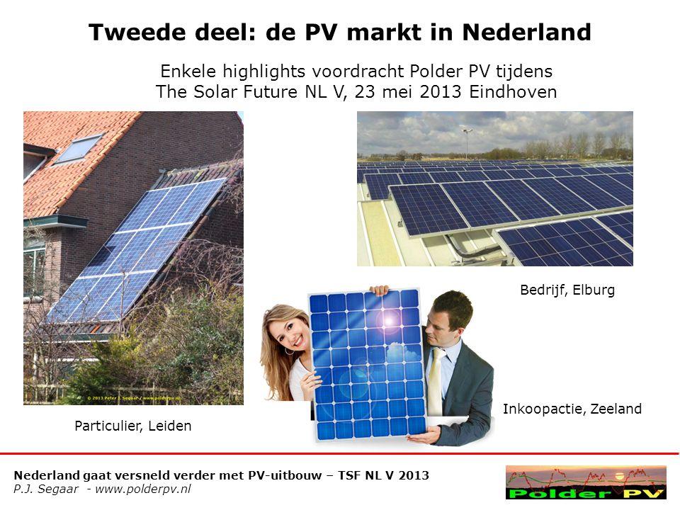 Nederland gaat versneld verder met PV-uitbouw – TSF NL V 2013 P.J. Segaar - www.polderpv.nl Tweede deel: de PV markt in Nederland Enkele highlights vo