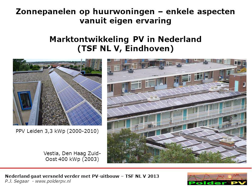 Nederland gaat versneld verder met PV-uitbouw – TSF NL V 2013 P.J. Segaar - www.polderpv.nl Zonnepanelen op huurwoningen – enkele aspecten vanuit eige