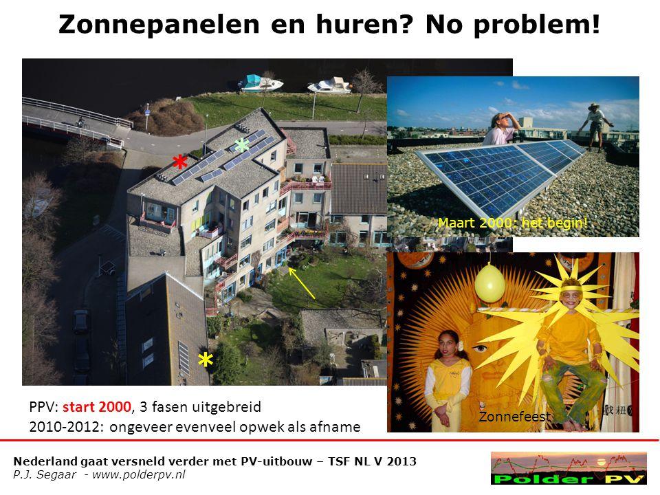 Nederland gaat versneld verder met PV-uitbouw – TSF NL V 2013 P.J. Segaar - www.polderpv.nl Zonnepanelen en huren? No problem! * * * PPV: start 2000,