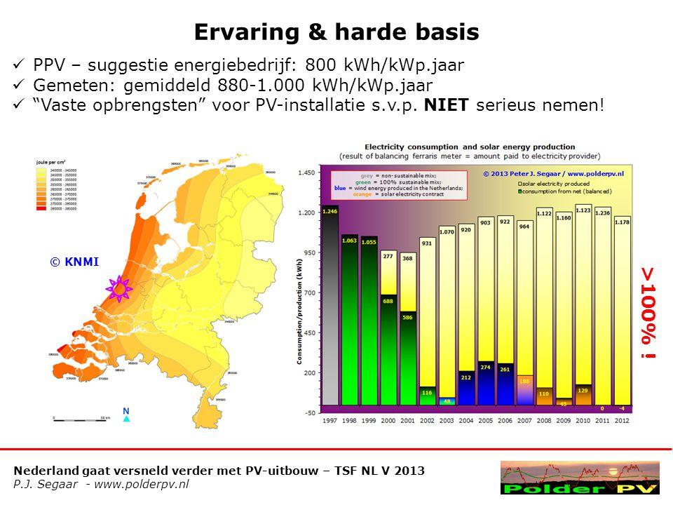 Nederland gaat versneld verder met PV-uitbouw – TSF NL V 2013 P.J. Segaar - www.polderpv.nl Ervaring & harde basis  PPV – suggestie energiebedrijf: 8