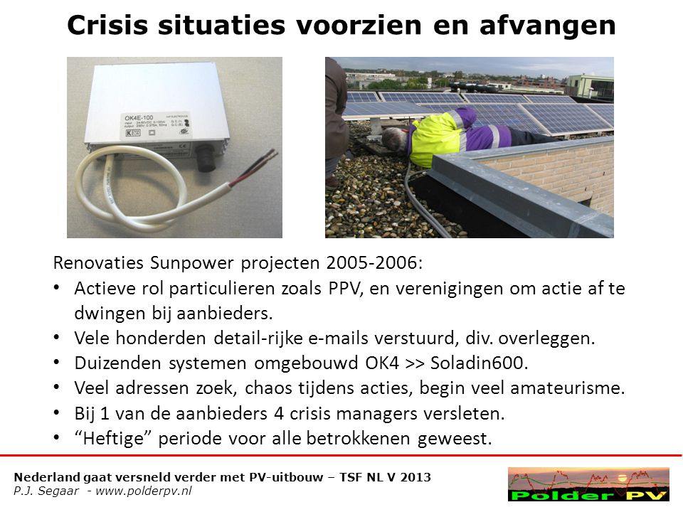 Nederland gaat versneld verder met PV-uitbouw – TSF NL V 2013 P.J. Segaar - www.polderpv.nl Crisis situaties voorzien en afvangen Renovaties Sunpower