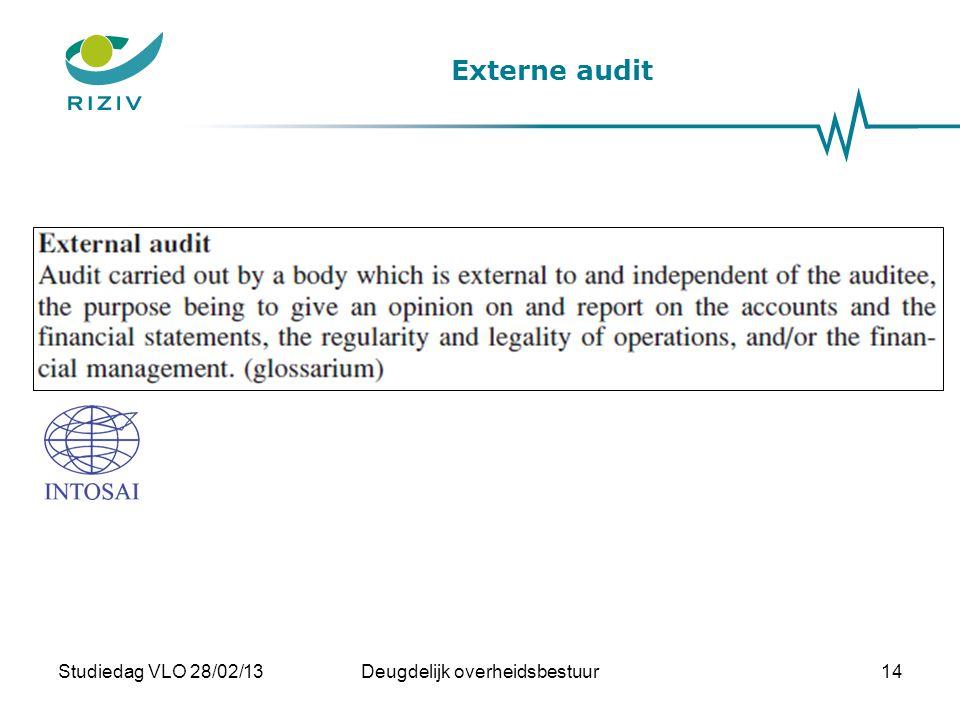 Externe audit Studiedag VLO 28/02/13Deugdelijk overheidsbestuur14