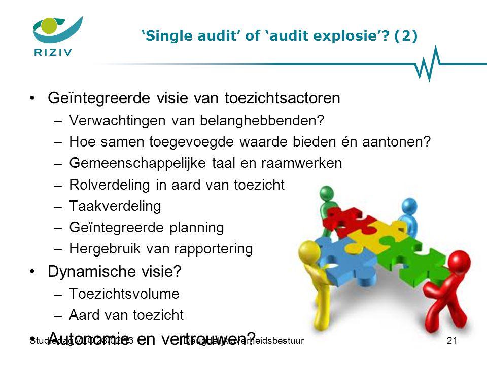 'Single audit' of 'audit explosie'? (2) •Geïntegreerde visie van toezichtsactoren –Verwachtingen van belanghebbenden? –Hoe samen toegevoegde waarde bi