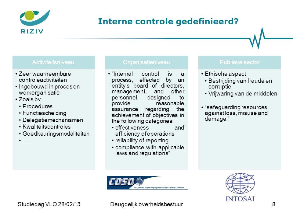 Interne controle gedefinieerd? Studiedag VLO 28/02/13Deugdelijk overheidsbestuur8 Activiteitsniveau •Zeer waarneembare controleactiviteiten •Ingebouwd