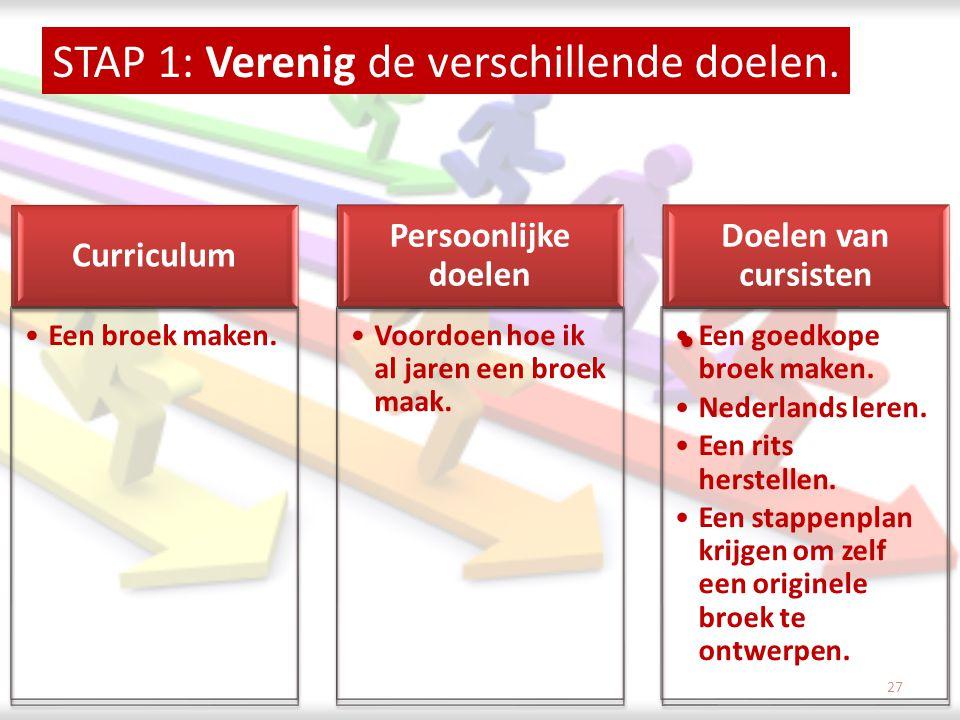 STAP 1: Verenig de verschillende doelen. •Een broek maken. •Voordoen hoe ik al jaren een broek maak. •Een goedkope broek maken. •Nederlands leren. •Ee