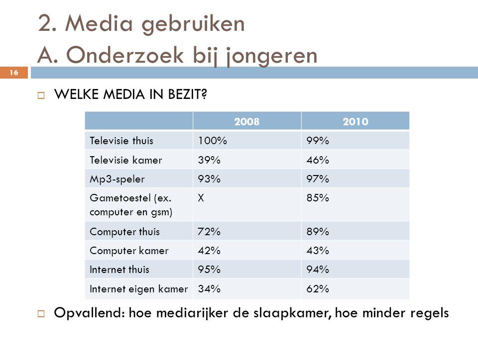 2. Media gebruiken A. Onderzoek bij jongeren 16  WELKE MEDIA IN BEZIT?  Opvallend: hoe mediarijker de slaapkamer, hoe minder regels 20082010 Televis