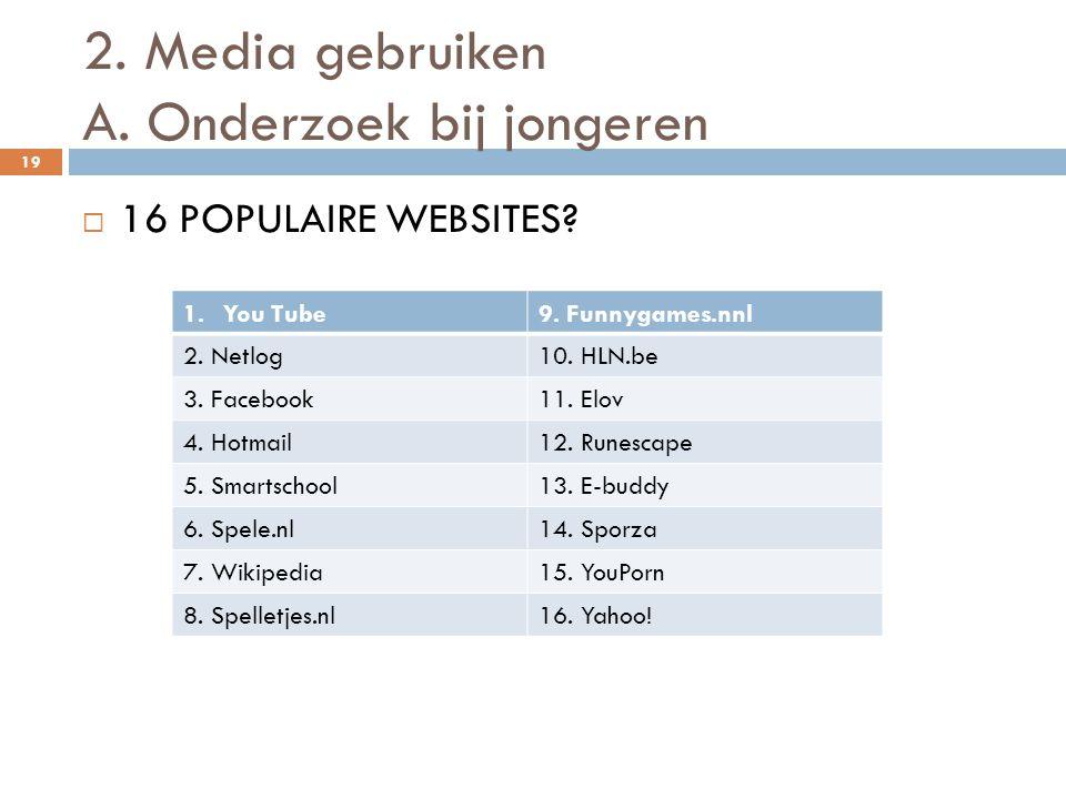 2. Media gebruiken A. Onderzoek bij jongeren 19  16 POPULAIRE WEBSITES? 1.You Tube9. Funnygames.nnl 2. Netlog10. HLN.be 3. Facebook11. Elov 4. Hotmai