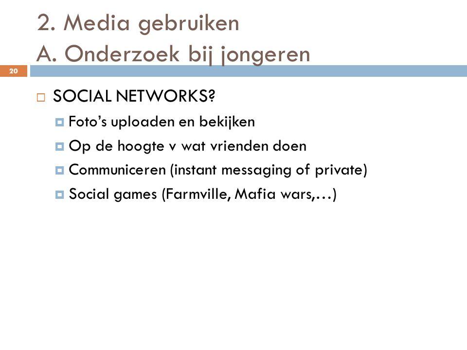 2. Media gebruiken A. Onderzoek bij jongeren 20  SOCIAL NETWORKS?  Foto's uploaden en bekijken  Op de hoogte v wat vrienden doen  Communiceren (in