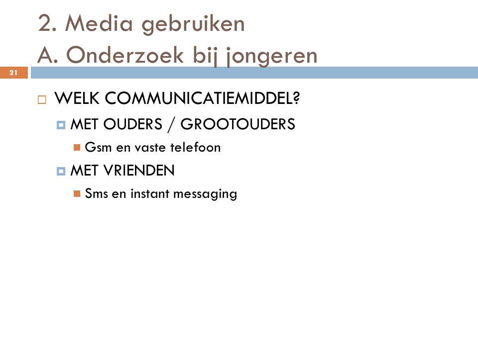 2. Media gebruiken A. Onderzoek bij jongeren 21  WELK COMMUNICATIEMIDDEL?  MET OUDERS / GROOTOUDERS  Gsm en vaste telefoon  MET VRIENDEN  Sms en