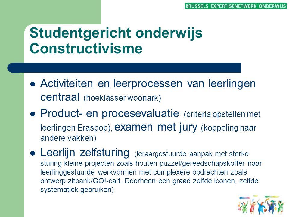 Studentgericht onderwijs Constructivisme  Activiteiten en leerprocessen van leerlingen centraal (hoeklasser woonark)  Product- en procesevaluatie (c