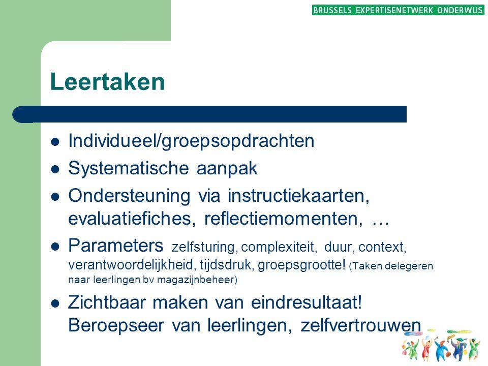 Leertaken  Individueel/groepsopdrachten  Systematische aanpak  Ondersteuning via instructiekaarten, evaluatiefiches, reflectiemomenten, …  Paramet