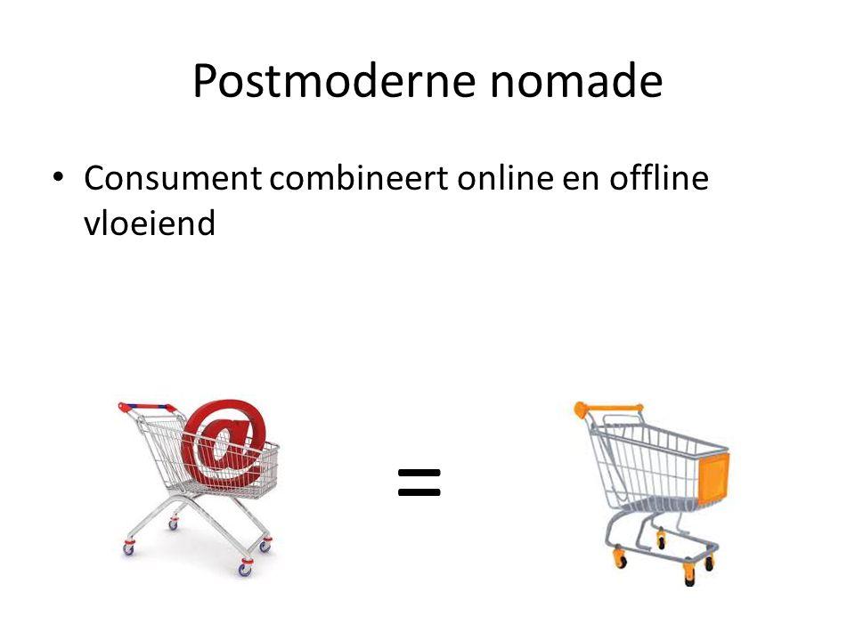Postmoderne nomade • Consument combineert online en offline vloeiend =