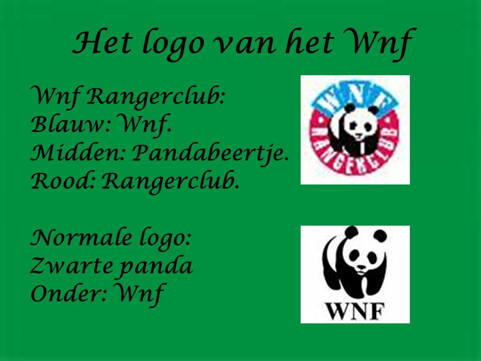 Het logo van het Wnf Wnf Rangerclub: Blauw: Wnf.Midden: Pandabeertje.