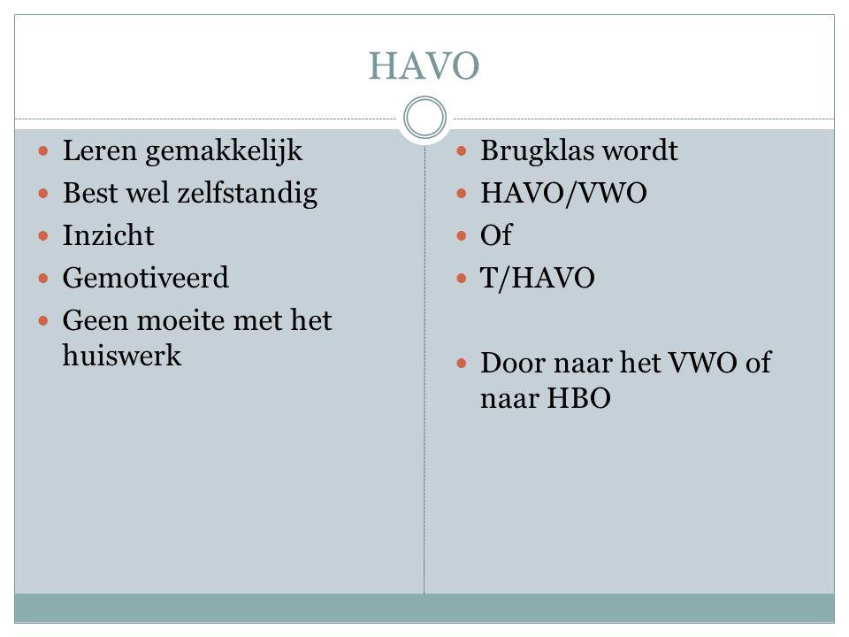 HAVO  Leren gemakkelijk  Best wel zelfstandig  Inzicht  Gemotiveerd  Geen moeite met het huiswerk  Brugklas wordt  HAVO/VWO  Of  T/HAVO  Door naar het VWO of naar HBO