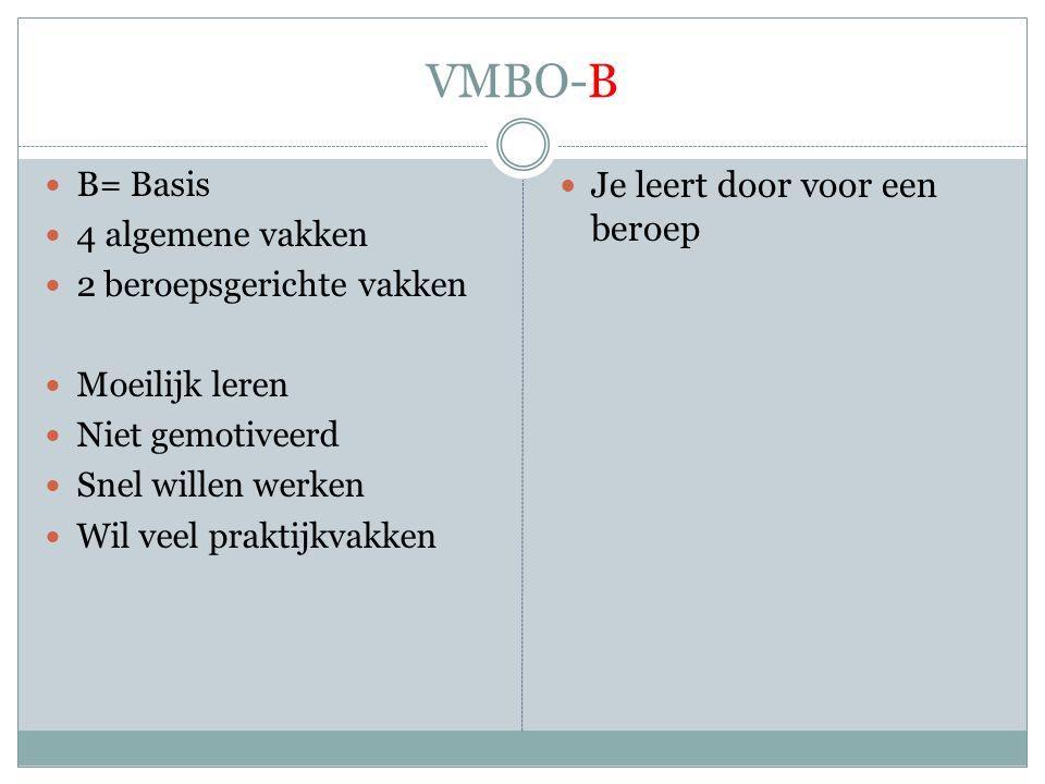 VMBO-B  B= Basis  4 algemene vakken  2 beroepsgerichte vakken  Moeilijk leren  Niet gemotiveerd  Snel willen werken  Wil veel praktijkvakken  Je leert door voor een beroep