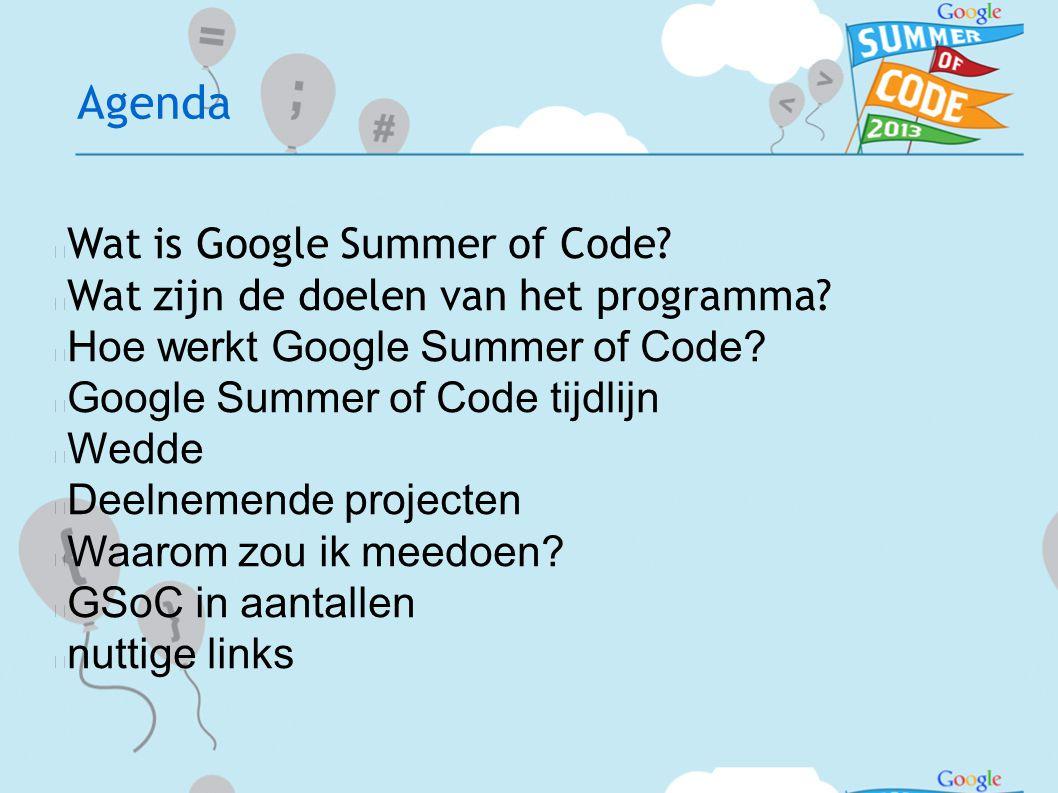 Agenda  Wat is Google Summer of Code.  Wat zijn de doelen van het programma.