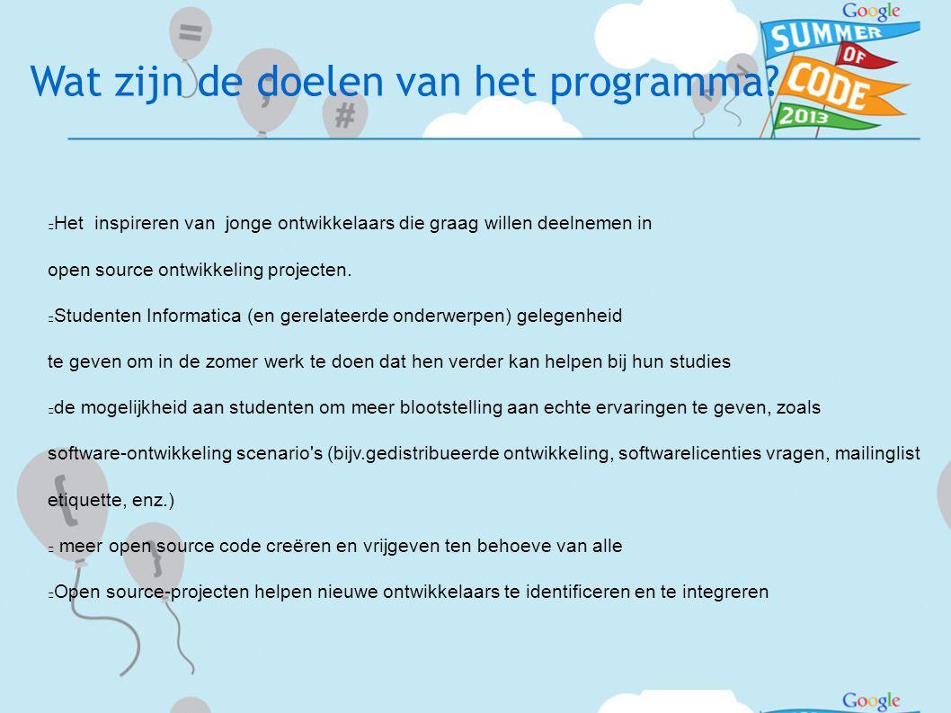 Wat zijn de doelen van het programma.