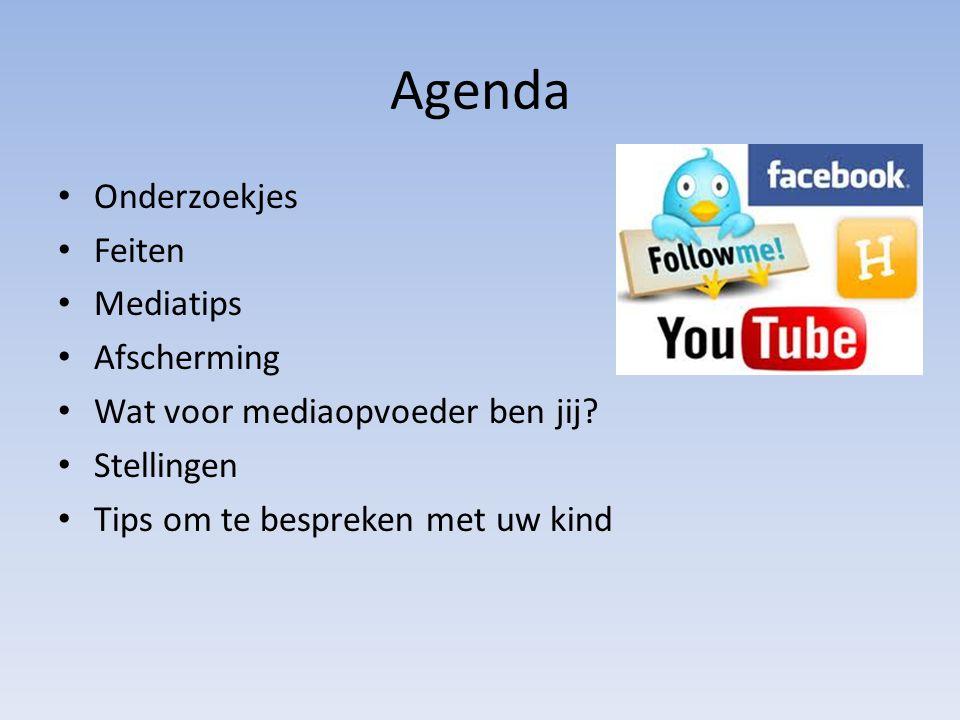 Agenda • Onderzoekjes • Feiten • Mediatips • Afscherming • Wat voor mediaopvoeder ben jij? • Stellingen • Tips om te bespreken met uw kind