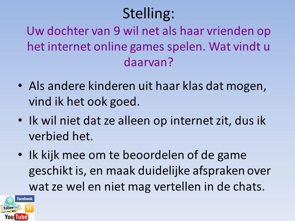 Stelling: Uw dochter van 9 wil net als haar vrienden op het internet online games spelen. Wat vindt u daarvan? • Als andere kinderen uit haar klas dat