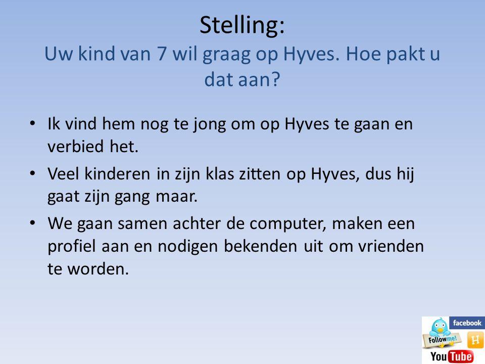 Stelling: Uw kind van 7 wil graag op Hyves. Hoe pakt u dat aan? • Ik vind hem nog te jong om op Hyves te gaan en verbied het. • Veel kinderen in zijn