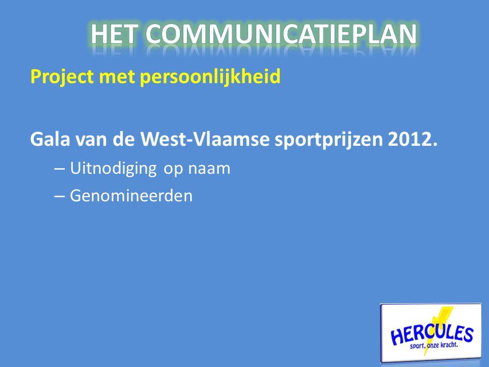 Project met persoonlijkheid Gala van de West-Vlaamse sportprijzen 2012.