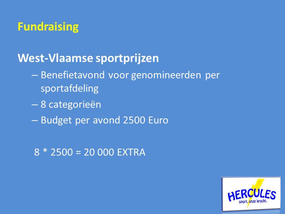 Fundraising West-Vlaamse sportprijzen – Benefietavond voor genomineerden per sportafdeling – 8 categorieën – Budget per avond 2500 Euro 8 * 2500 = 20 000 EXTRA