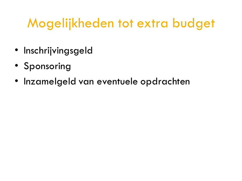 Mogelijkheden tot extra budget • Inschrijvingsgeld • Sponsoring • Inzamelgeld van eventuele opdrachten