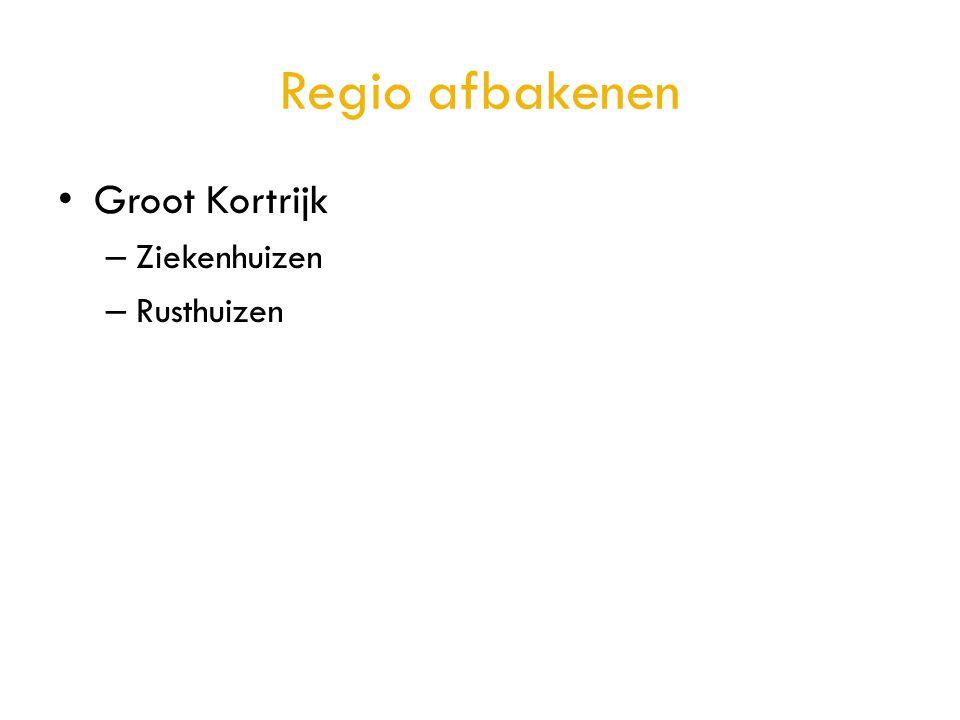 Regio afbakenen • Groot Kortrijk – Ziekenhuizen – Rusthuizen