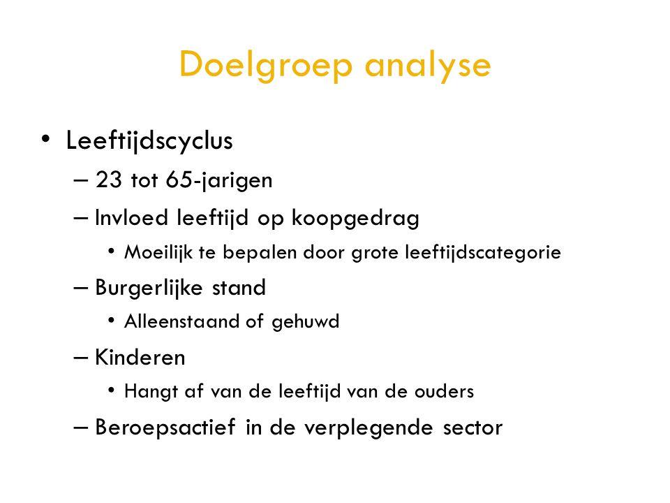 Doelgroep analyse • Leeftijdscyclus – 23 tot 65-jarigen – Invloed leeftijd op koopgedrag • Moeilijk te bepalen door grote leeftijdscategorie – Burgerl
