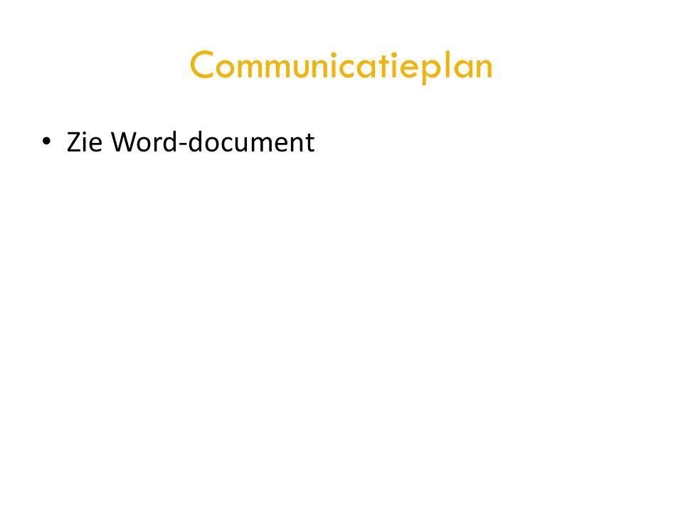Communicatieplan • Zie Word-document