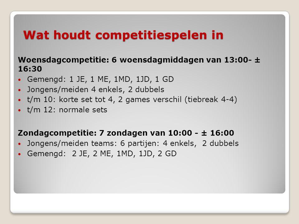 Wat houdt competitiespelen in Woensdagcompetitie: 6 woensdagmiddagen van 13:00- ± 16:30  Gemengd: 1 JE, 1 ME, 1MD, 1JD, 1 GD  Jongens/meiden 4 enkel