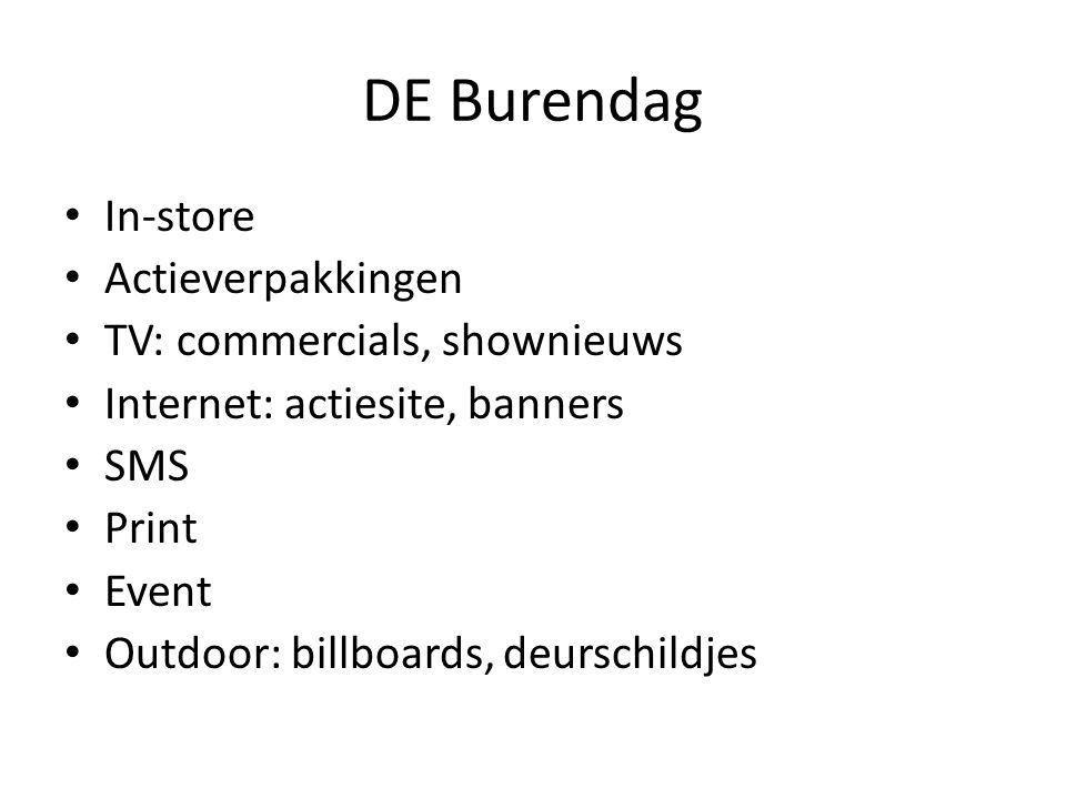 DE Burendag • In-store • Actieverpakkingen • TV: commercials, shownieuws • Internet: actiesite, banners • SMS • Print • Event • Outdoor: billboards, d