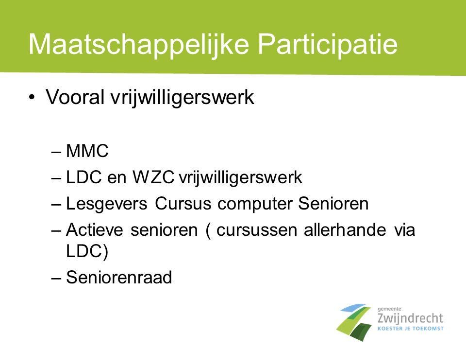 Maatschappelijke Participatie •Vooral vrijwilligerswerk –MMC –LDC en WZC vrijwilligerswerk –Lesgevers Cursus computer Senioren –Actieve senioren ( cur