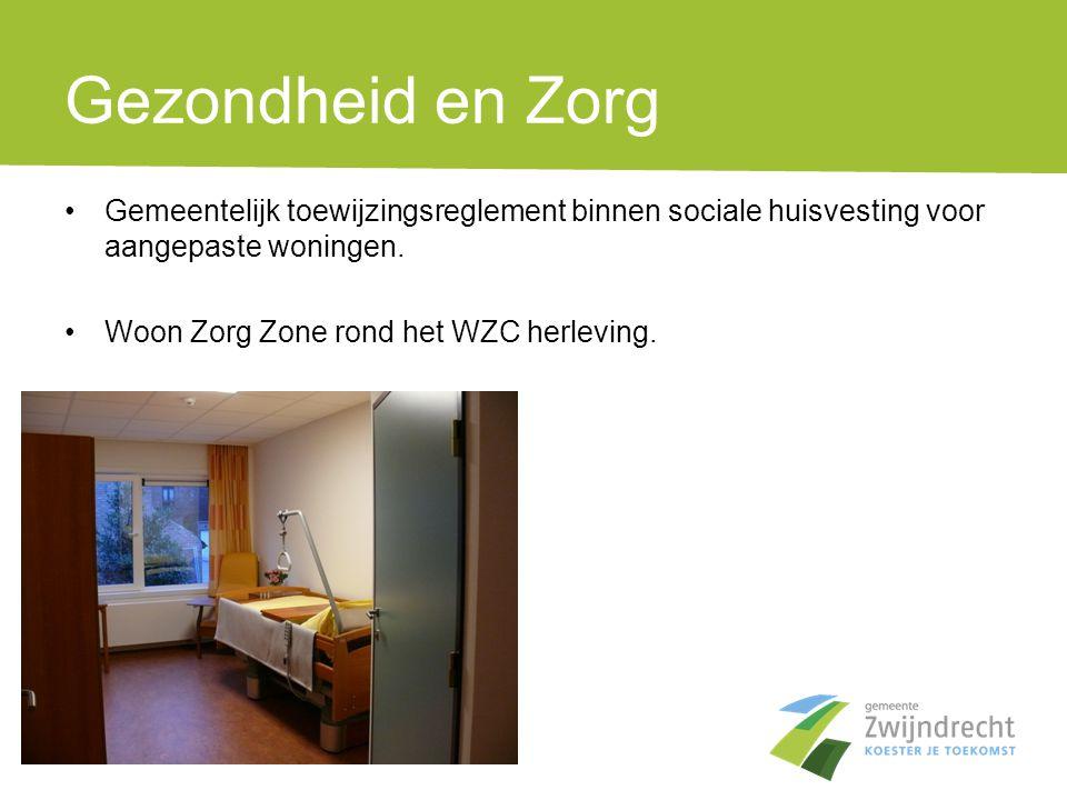 Gezondheid en Zorg •Gemeentelijk toewijzingsreglement binnen sociale huisvesting voor aangepaste woningen. •Woon Zorg Zone rond het WZC herleving.