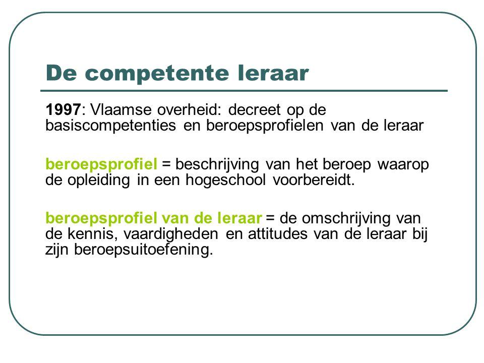 De competente leraar 1997: Vlaamse overheid: decreet op de basiscompetenties en beroepsprofielen van de leraar beroepsprofiel = beschrijving van het b
