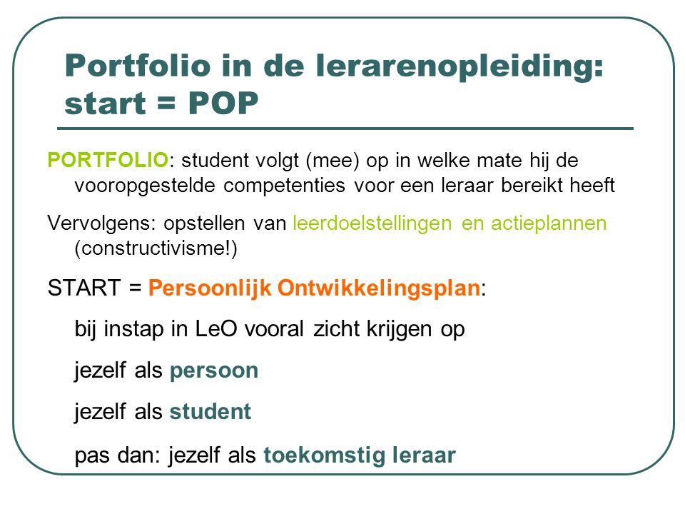 Portfolio in de lerarenopleiding: start = POP PORTFOLIO: student volgt (mee) op in welke mate hij de vooropgestelde competenties voor een leraar berei