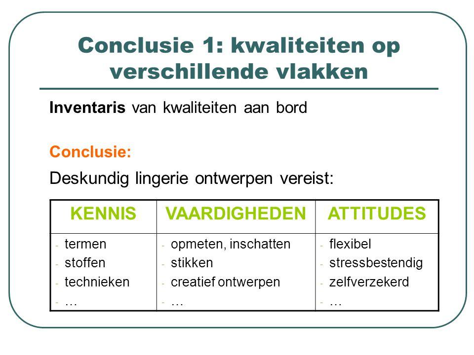 Conclusie 1: kwaliteiten op verschillende vlakken Inventaris van kwaliteiten aan bord Conclusie: Deskundig lingerie ontwerpen vereist: KENNISVAARDIGHE