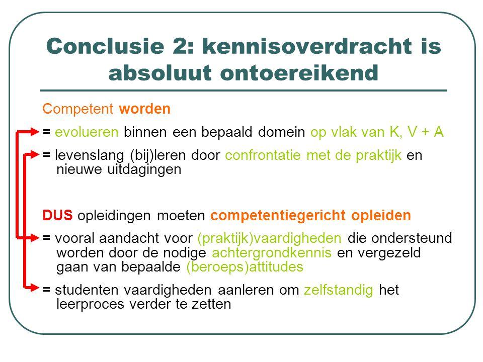 Conclusie 2: kennisoverdracht is absoluut ontoereikend Competent worden = evolueren binnen een bepaald domein op vlak van K, V + A = levenslang (bij)l