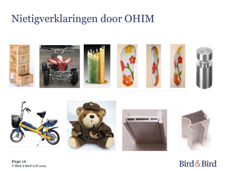Page 16 © Bird & Bird LLP 2012 Nietigverklaringen door OHIM