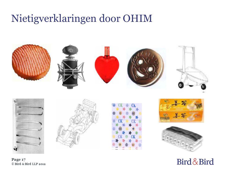 Page 17 © Bird & Bird LLP 2012 Nietigverklaringen door OHIM