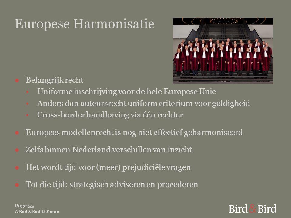 Page 55 © Bird & Bird LLP 2012 Europese Harmonisatie ●Belangrijk recht •Uniforme inschrijving voor de hele Europese Unie •Anders dan auteursrecht unif