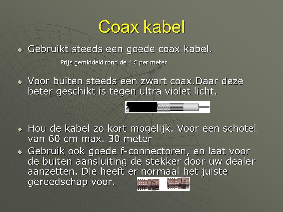 Coax kabel  Gebruikt steeds een goede coax kabel.