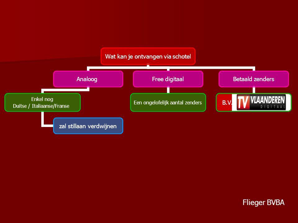 Wat kan je ontvangen via schotel Analoog Enkel nog Duitse / Italiaanse/Franse zal stillaan verdwijnen Free digitaal Een ongelofelijk aantal zenders Betaald zenders B.V.