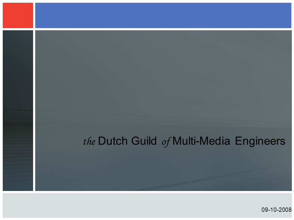 09-10-2008 Multi Channel Audio voor (HD) Video the Dutch Guild of Multi-Media Engineers Peter Schut Chief Technical Officer – Axon Digital Design