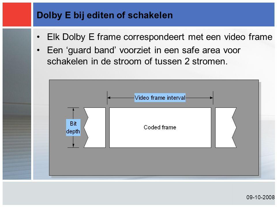 09-10-2008 Dolby E bij editen of schakelen •Elk Dolby E frame correspondeert met een video frame •Een 'guard band' voorziet in een safe area voor schakelen in de stroom of tussen 2 stromen.