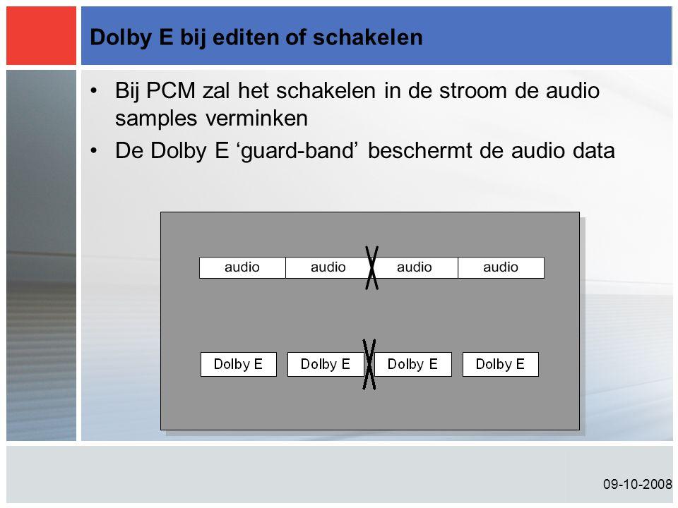09-10-2008 Dolby E bij editen of schakelen •Bij PCM zal het schakelen in de stroom de audio samples verminken •De Dolby E 'guard-band' beschermt de audio data