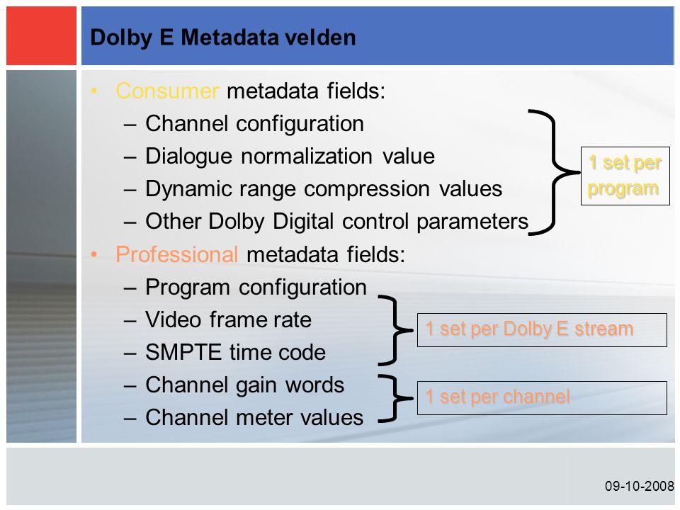 09-10-2008 Dolby E Metadata velden •Consumer metadata fields: –Channel configuration –Dialogue normalization value –Dynamic range compression values –