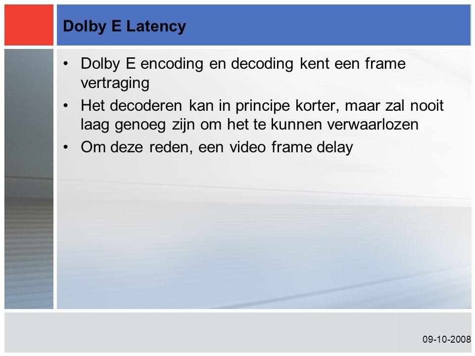 09-10-2008 Dolby E Latency •Dolby E encoding en decoding kent een frame vertraging •Het decoderen kan in principe korter, maar zal nooit laag genoeg zijn om het te kunnen verwaarlozen •Om deze reden, een video frame delay