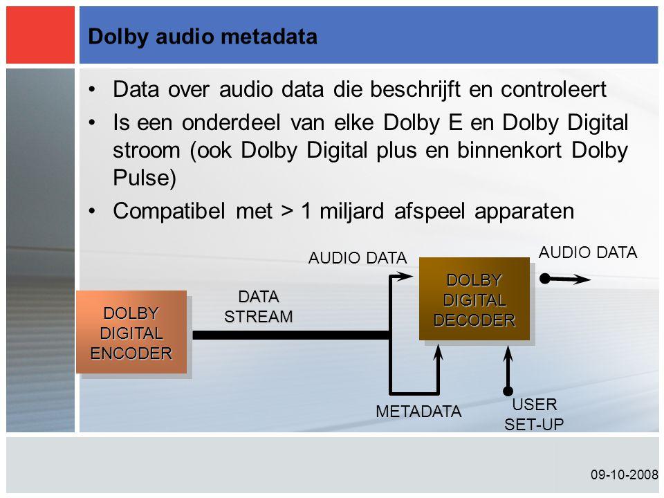 09-10-2008 Dolby audio metadata •Data over audio data die beschrijft en controleert •Is een onderdeel van elke Dolby E en Dolby Digital stroom (ook Do